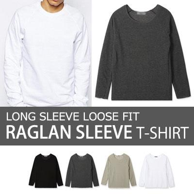 [BASIC SIMPLE LINE] LONG SLEEVE LOOSE FIT RAGLAN SLEEVE T-SHIRT(4COLOR)