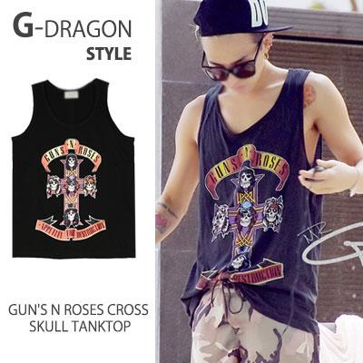 G-DRAGON FASHION STYLE!GUN'S N ROSES CROSS SKULL TANKTOP/SLEEVELESS