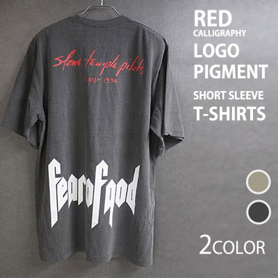KANYE STYLE! RED CALLIGRAPHY PIGMENT SHORT SLEEVE T-SHIRT(2COLORS)