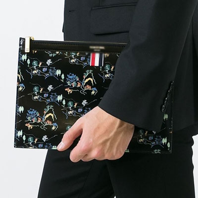 LUXURY STYLE! THREE COLORS TAPE POINT CLUTCH BAG