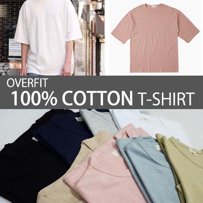[BASIC SIMPLE LINE] OVERFIT 100% COTTON T-SHIRT/UNISEX