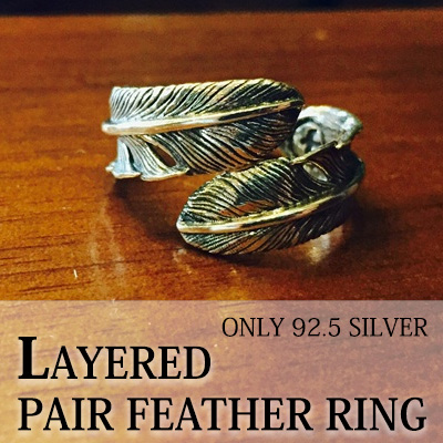 ONLY 92.5 SILVER LAYERED PAIR FEATHER RING(1TYPE)