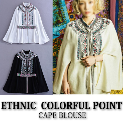 [SNSD TAE YEON st.] ETHNIC COLORFUL POINT CAPE BLOUSE