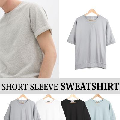 [BASIC SIMPLE LINE] SHORT SLEEVE SWEATSHIRT(4COLOR)
