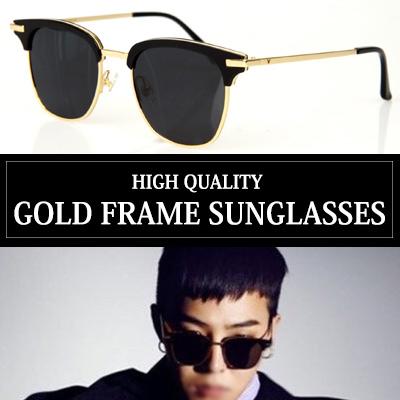 [G-DRAGON, Korea Actor GONG YOO, PARK HAE-JIN st.]HIGH QUALITY! GOLD FRAME SUNGLASSES