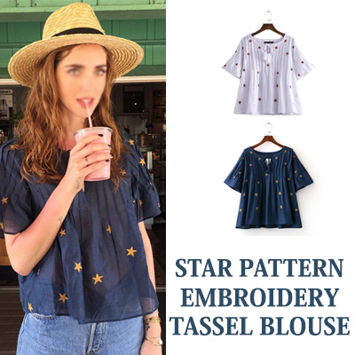 ★60% OFF★STAR PATTERN EMBROIDERY TASSEL BLOUSE(WHITE,BLUE)