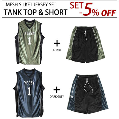 [PURCHASE AS A SET AND GET 5% OFF]UNIQUE SILKET STYLE! BASBASKETBALL JERSEY TANK TOP & SHORT(DARK GREY,KHAKI)