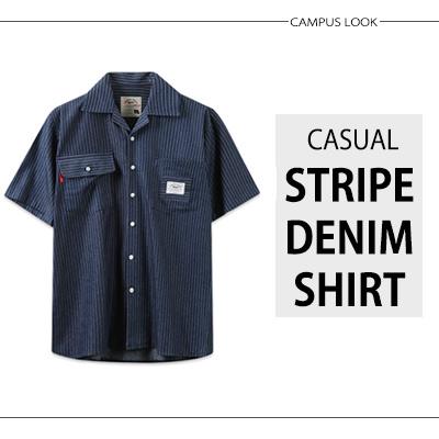 [BASIC CAMPUS LOOK]CASUAL STRIPE DENIM SHIRT