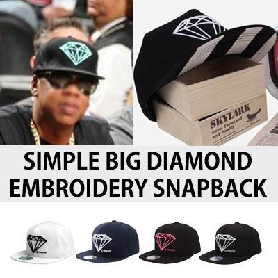 SIMPLE BIG DIAMOND EMBROIDERY SNAPBACK(4TYPE)