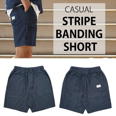 [BASIC CAMPUS LOOK]CASUAL STRIPE BANDING SHORT