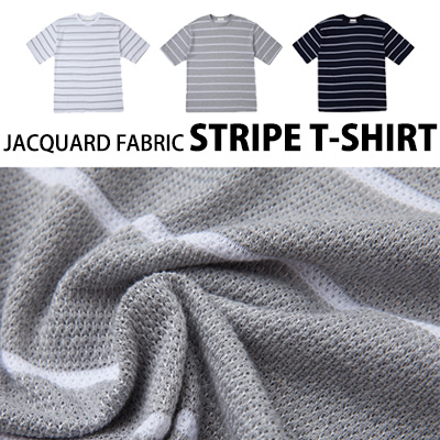 [BASIC SIMPLE LINE]JACQUARD FABRIC STRIPE -SHIRT