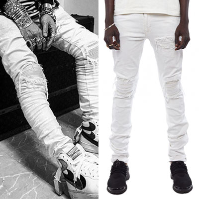 ★WHITE VERSION★JUSTIN BIEBER STYLE!FLEXIBLE&RIPPED JEANS