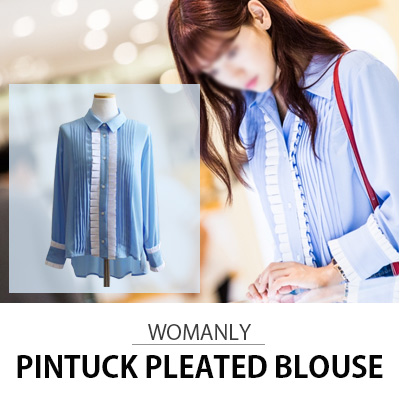 [KOREA DRAMA 'DOCTORS' PARK SHIN HYE STYLE]WOMANLY PINTUCK PLEATED BLOUSE