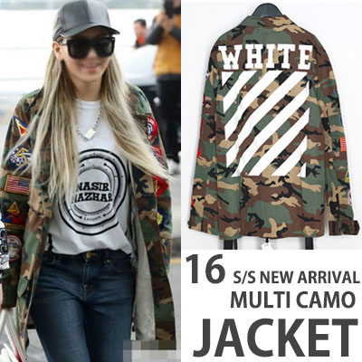 ★OFF 16S/S NEW VER.★2NE1 CL of Airport Fashion !! hot street brand OFF-WHI ** st. Of camouflage jacket patch-copy