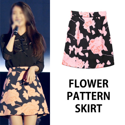 [K-POP IDOL IU STYLE] FLOWER PATTERN SKIRT