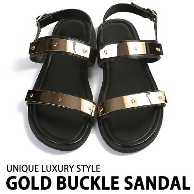 UNIQUE LUXURY STYLE. GOLD BUCKLE SANDAL