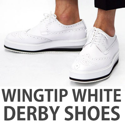 [UNISEX][23.0~28.0cm]WINGTIP WHITE DERBY SHOES