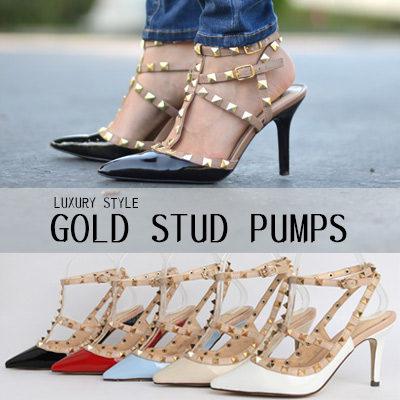 LUXURY STYLE GOLD STUD PUMPS