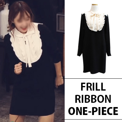 [K-POP IDOL EXID HANI STYLE]FRILL RIBBON ONE-PIECE
