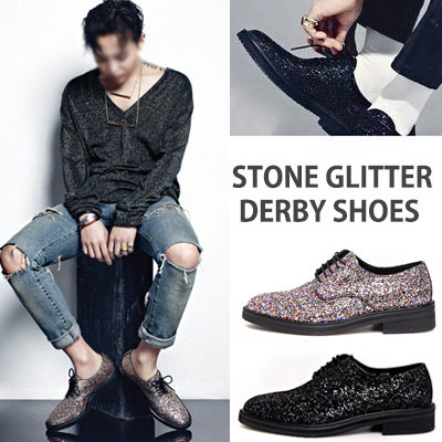 ★255mm-280mm WIDTH&INSOLE'POSSIBLE TO CUSTOMIZE ORDER'★G-DRAGON FASHION STYLE!STONE GLITTER DERBY SHOES