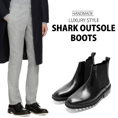 ★HANDMADE★[24.5~28.0cm] COWHIDE LUXURY STYLE SHARK OUTSOLE BOOTS