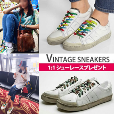 G-DRAGON,2NE1 SANDARA,KOREAN ACTOR SONG-JOONGGI STYLE!LUXURY STYLE VINTAGE SNEAKERS/INCLUDE:RAINBOW AND CAMO TYPE SHOELACE