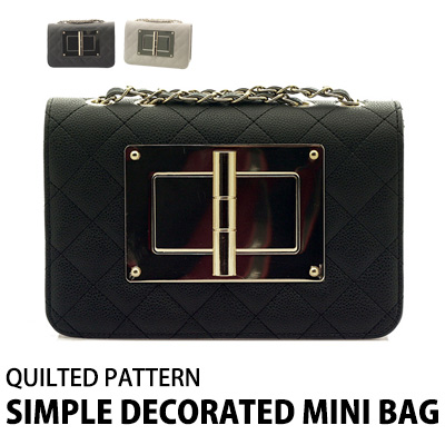 QUILTED PATTERN SIMPLE DECORATED MINI BAG