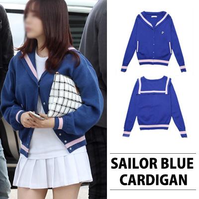 [KOREAN ACTRESS SONG JI HYO/GIRL'S GENERATION STYLE]☆SUPER CUTIE☆ SAILOR BLUE CARDIGAN