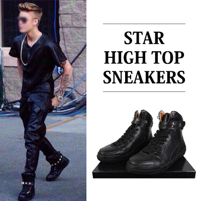 [JUSTIN BIEBER STYLE][25.5~28.0cm]STAR HIGH TOP SNEAKERS
