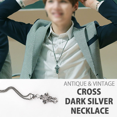 [K-POP IDOL BTS STYLE]ANTIQUE&VINTAGE CROSS DARK SILVER NECKLACE