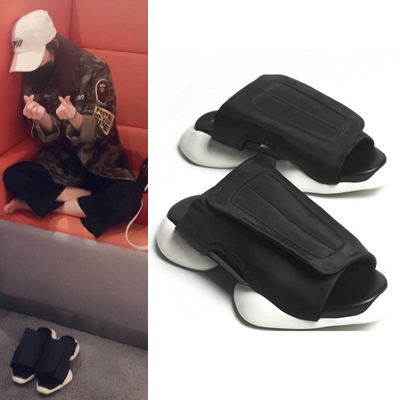 [2NE1 SANDARA STYLE][25.5~28.0cm]AVANT-GARDE FASHION!UNIQUE VELCRO SANDALS