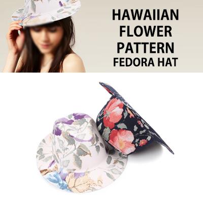 HAWAIIAN FLOWER PATTERN FEDORA HAT