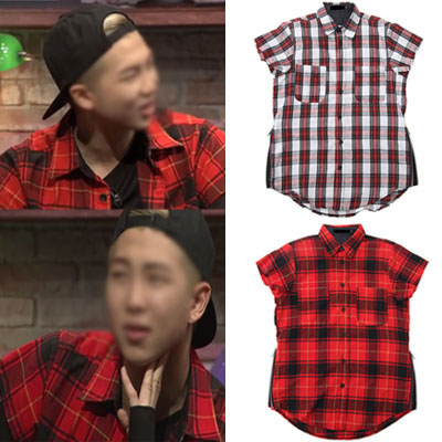 BTS STYLE! SIDE ZIPPER SHORT SLEEVE PLAID FLANNEL SHIRTS