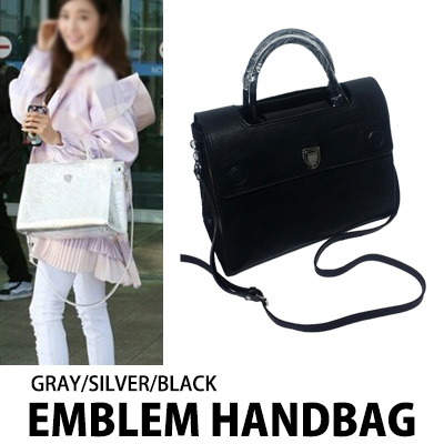 [K-POP IDOL SNSD STYLE]EMBLEM HANDBAG (GRAY/SILVER/BLACK)