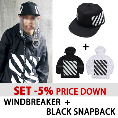 [K-POP IDOL MONSTA-X JOOHEON STYLE][SET -5% PRICE DOWN] WINDBREAKER + BLACK SNAPBACK