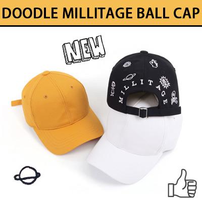 DOODLE MILLITAGE BALL CAP(3COLOR)