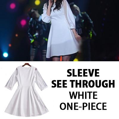 [K-POP ACTRESS PARK SHIN HYE STYLE] SLEEVE SEE-THROUGH WHITE ONE-PIECE