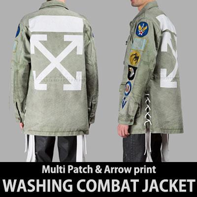 MULTI PATCH & ARROW PRINT WASHING COMBAT JACKET