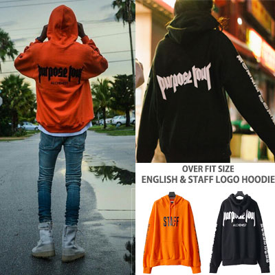 OVER FIT SIZE ENGLISH&STAFF LOGO HOODIE