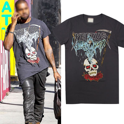 KANYE WEST STYLE!ROSE SKULL AND GHOST SHORT SLEEVE T-SHIRTS