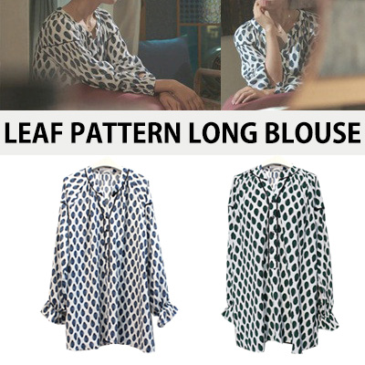 [KOREAN DRAMA 'DOCTORS' PARK SHIN HYE STYLE] LEAF PATTERN LONG BLOUSE
