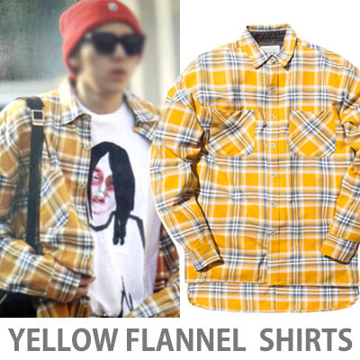 ★Mirror-class quality★BLOCK B ZICO STYLE!Yellow Flannel Check Shirt