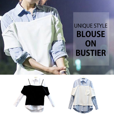 [KOREAN DRAMA 'DOCTORS' PARK SHIN HYE STYLE] UNIQUE STYLE BLOUSE ON BUSTIER