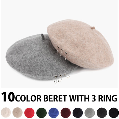 YOU CAN CHOOSE 10 COLORS ! BERET WITH 3 RING