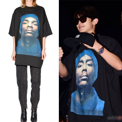 FRONT VER.EXO/chanyeol style/SNOOP DOG PRINT OVER FITTING SHORT SLEEVED SHIRT