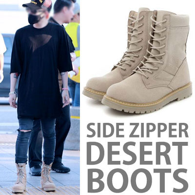 ★SIDE ZIPPER TYPE★BIGBANG G-DRAGON,KOREAN DRAMA 'DESCENDANTS OF THE SUN'SONG JUNGGI STYLE!SWAT DESERT BOOTS