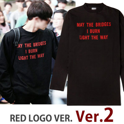 RED LOGO VER.2!UPGRADE RED LOGO VER.★EXO CHAN STYLE!RED LOGO OVER SIZE LONG T-SHIRTS