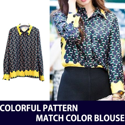 [KOREAN DRAMA DOCTORS PARK SHIN HYE STYLE] COLORFUL PATTERN MATCH COLOR BLOUSE
