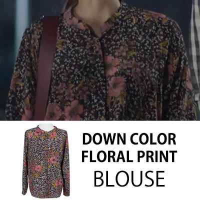 [KOREAN DRAMA DOCTORS PARK SHIN HYE STYLE]DOWN COLOR FLORAL PRINT BLOUSE
