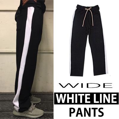 [K-POP IDOL 2NE1 SANDARA STYLE] DAILY SIMPLE STYLE! WIDE WHITE LINE PANTS
